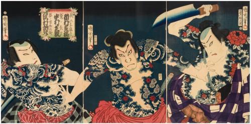 Toyohara_Kunichika_-_The_kabuki_actors_(right_to_left)_Ichimura_Kakitsu_IV_as_Asahina_Tobei,_Nakamura_Shikan_IV_as_Washi_..._-_Google_Art_Project.jpg
